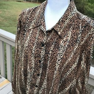 Claudia Richard Animal Print Blouse Plus Size 22W
